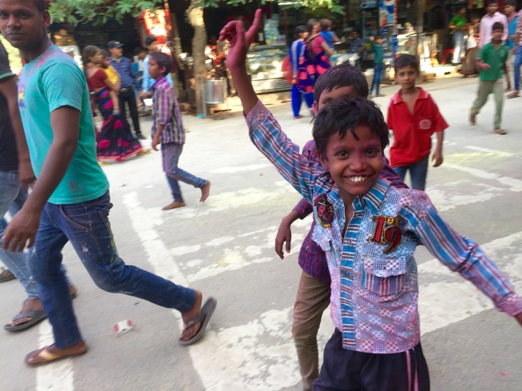This enthusiastic gentleman was part of a group of people celebrating the god Ganesha's birthday