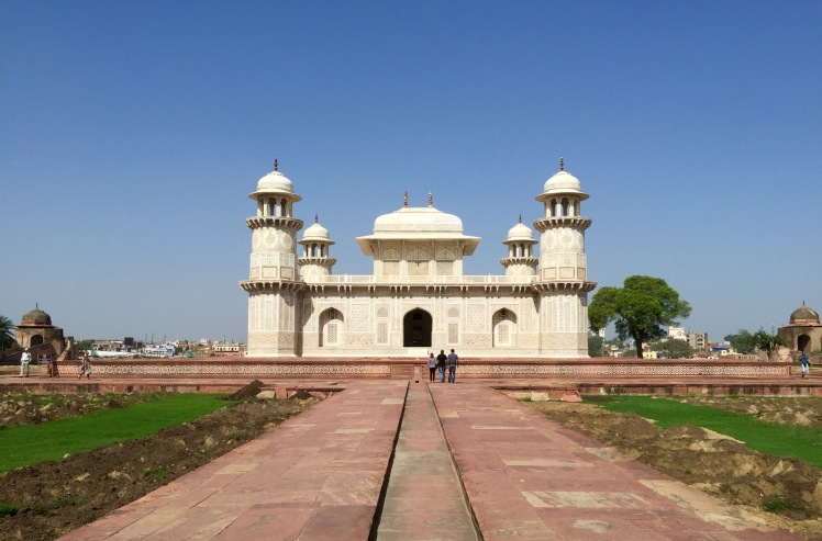 The Tomb of I'timad-ud-Daulah, built by Nur Jahan for her parents, is said to be one of the inspirations for the Taj because of its detailed marble carvings.