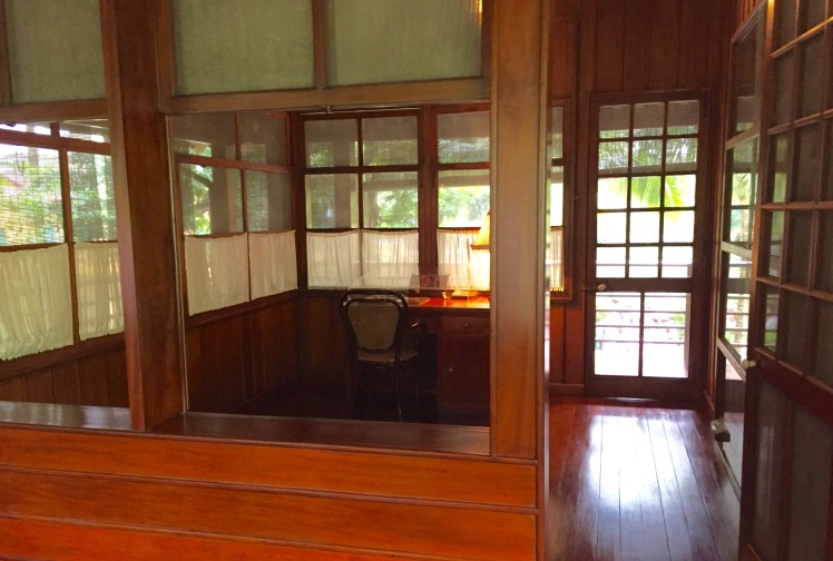 Ho Chi Minh's office in his two-room flat on bamboo stilts built behind the presidential palace