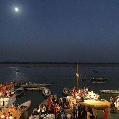 People gather along the Ganges for the evening aarti ceremony, a Hindu celebration honoring the sacred river
