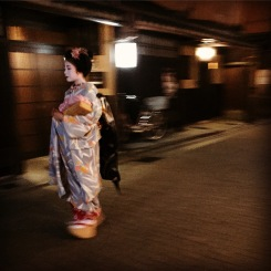 Geisha walking through Gion, Kyoto's historic district